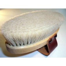Hill Brush Medium Pure White Goat Hair Body Brush with Leather Strap